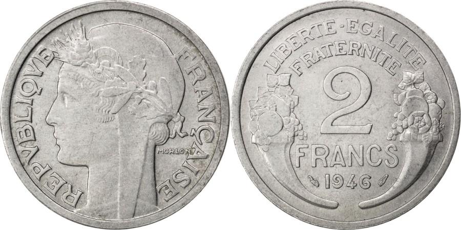 World Coins - FRANCE, Morlon, 2 Francs, 1946, KM #886a.1, , Aluminum, 27, Gadoury...