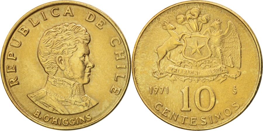 World Coins - Chile, 10 Centesimos, 1971, , Aluminum-Bronze, KM:194