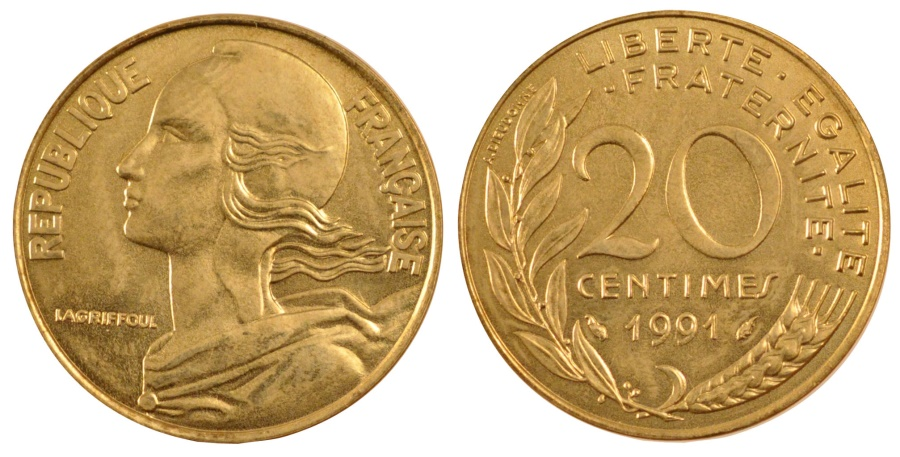 World Coins - FRANCE, Marianne, 20 Centimes, 1991, Paris, KM #930, ,...