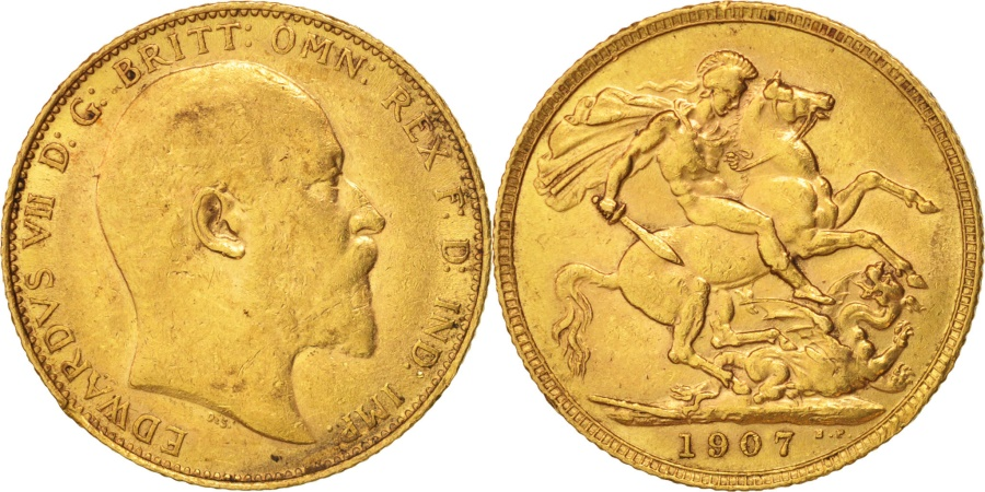 World Coins - Great Britain, Edward VII, Sovereign, 1907, , Gold, KM:805