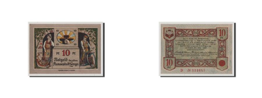 World Coins - Germany, Lemgo Stadt, 10 Pfennig, 1921, UNC(65-70), 111647, Mehl #789.2