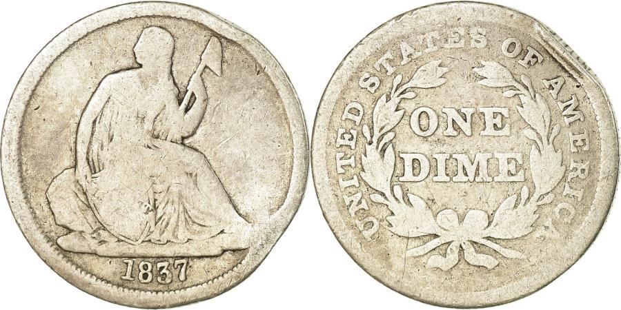 US Coins - Coin, United States, Seated Liberty Dime, Dime, 1837, U.S. Mint, Philadelphia