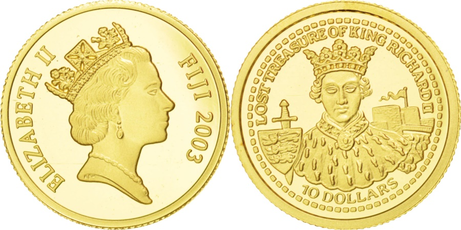 World Coins - FIJI, 10 Dollars, 2003, KM #113, , Gold, 13.91, 1.24