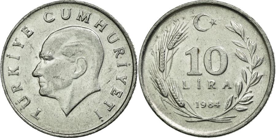 World Coins - Coin, Turkey, 10 Lira, 1984, EF(40-45), Aluminum, KM:964