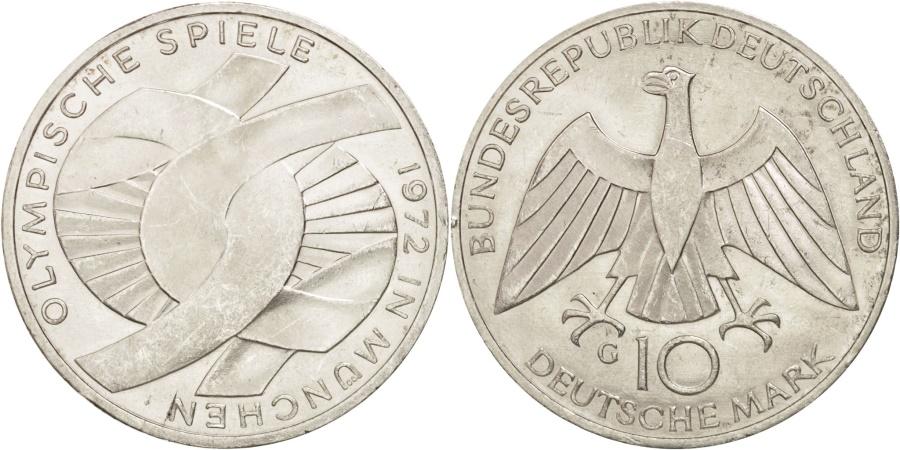 World Coins - GERMANY - FEDERAL REPUBLIC, 10 Mark, 1972, Karlsruhe, , Silver, KM:131