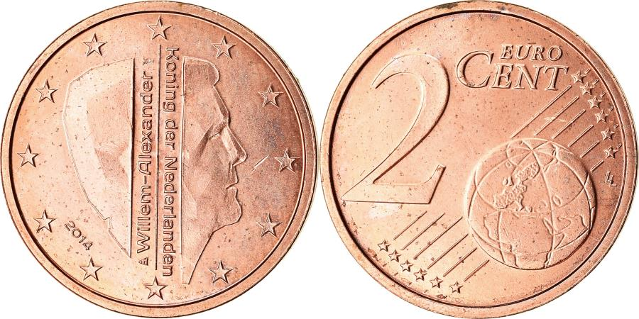 World Coins - Netherlands, 2 Euro Cent, 2014, , Copper Plated Steel