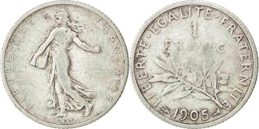World Coins - FRANCE, Semeuse, Franc, 1905, Paris, KM #844.1, , Silver, 23, Gadoury..