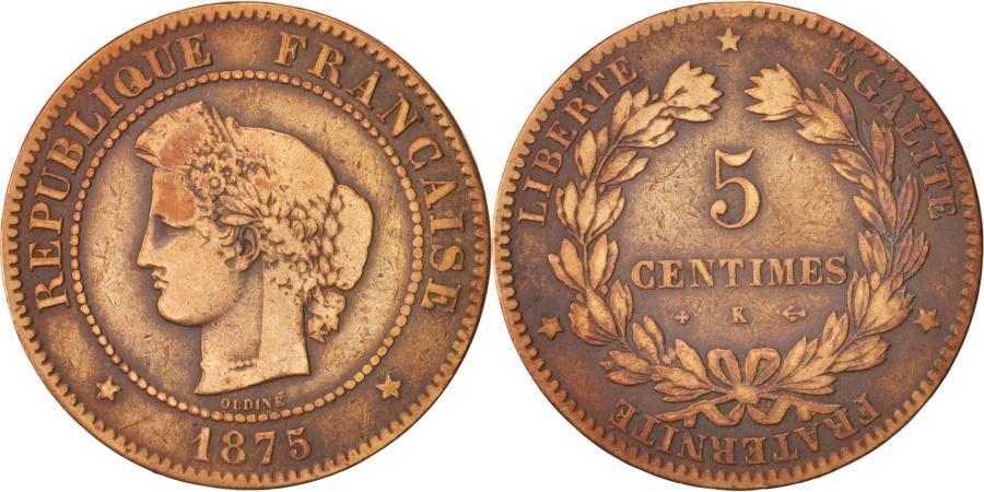 World Coins - France, Cérès, 5 Centimes, 1875, Bordeaux, , Bronze, KM:821.2