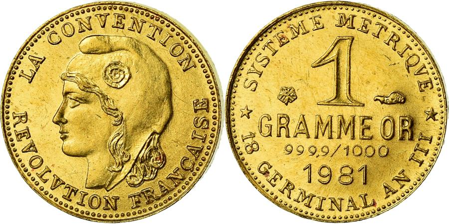 World Coins - France, Medal, Révolution, 1 Gramme d'or Germinal, History, 1981, , Gold