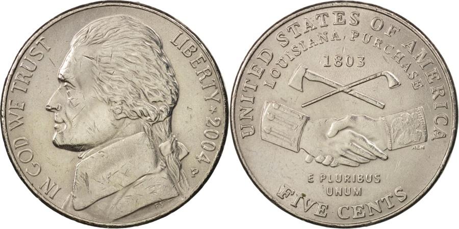 US Coins - United States, Jefferson, 5 Cents, 2004, Philadelphia, AU, KM:360