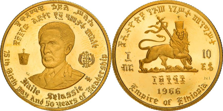 World Coins - Coin, Ethiopia, Haile Selassie, 10 Dollars, 1966, Proof, , Gold, KM:38