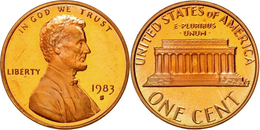 US Coins - Coin, United States, Lincoln Cent, Cent, 1983, U.S. Mint, San Francisco