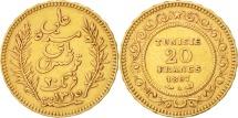World Coins - Tunisia, Ali Bey, 20 Francs, 1897, Paris, AU(50-53), Gold, KM:227