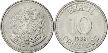 World Coins - Brazil, 10 Cruzados, 1988, AU(55-58), Stainless Steel, KM:607