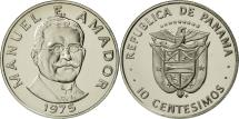 World Coins - Panama, 10 Centesimos, 1975, Franklin Mint, MS(64), Copper-Nickel Clad Copper