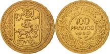 Tunisia, Ahmad Pasha Bey, 100 Francs, 1935, Paris, AU(55-58), Gold, KM:257