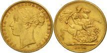 World Coins - Australia, Victoria, Sovereign, 1876, Melbourne, EF(40-45), Gold, KM:7