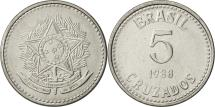 World Coins - Brazil, 5 Cruzados, 1988, AU(55-58), Stainless Steel, KM:606