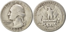 Us Coins - United States, Washington Quarter, 1936, Philadelphia,VF(30-35),KM 164