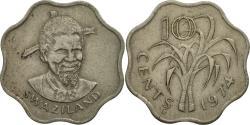 World Coins - Swaziland, Sobhuza II, 10 Cents, 1974, British Royal Mint,