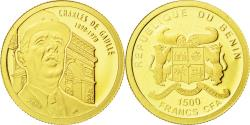 World Coins - Benin, 1500 Francs CFA, Charles de Gaulle, 2010, , Gold