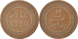 World Coins - MOROCCO, 10 Mazunas, 1902, KM #17.1, , Bronze, 9.71