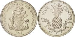 World Coins - Bahamas, Elizabeth II, 5 Cents, 1974, Franklin Mint, U.S.A.,