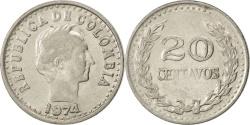 World Coins - COLOMBIA, 20 Centavos, 1974, KM #246.1, , Nickel Clad Steel, 23.6, 4.48