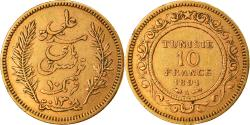 World Coins - Coin, Tunisia, Ali Bey, 10 Francs, 1891, Paris, , Gold, KM:226