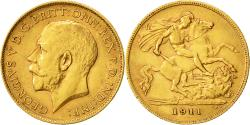 Ancient Coins - Coin, Great Britain, George V, 1/2 Sovereign, 1911, AU(50-53), Gold, KM:819