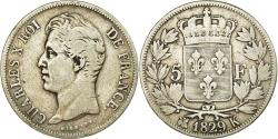 World Coins - Coin, France, Charles X, 5 Francs, 1829, Bordeaux, , Silver, KM:728.7