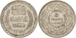 World Coins - Tunisia, Ahmad Pasha Bey, 5 Francs, 1939, Paris, , Silver, KM:264