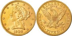 Us Coins - Coin, United States, Coronet Head, $5, Half Eagle, 1908, U.S. Mint