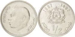 World Coins - MOROCCO, 1/2 Dirham, 1987, KM #87, , Copper-Nickel, 21, 3.99