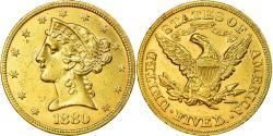 Ancient Coins - Coin, United States, Coronet Head, $5, Half Eagle, 1880, U.S. Mint