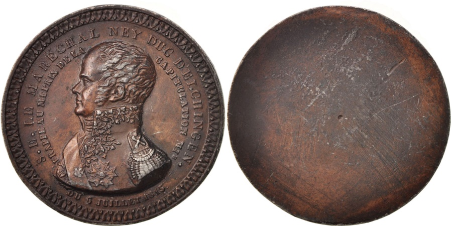 World Coins - France, Medal, Maréchal Ney, Duc d'Elchingen, History, 1815, Lienard