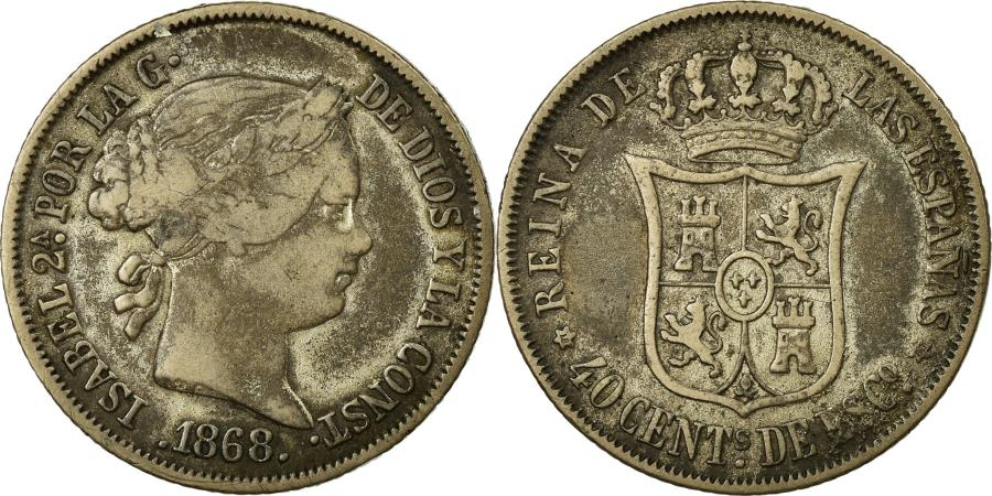 World Coins - Coin, Spain, Isabel II, 40 Centimos, 1868, , Silver, KM:628.2