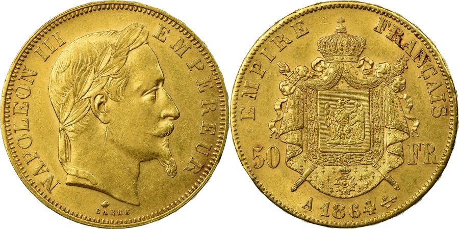 World Coins - Coin, France, Napoleon III, 50 Francs, 1864, Paris, , Gold