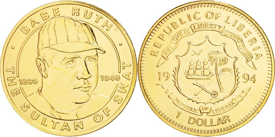 World Coins - LIBERIA, Dollar, 1994, KM #131a, , Copper-Nickel Gilt, 28.50