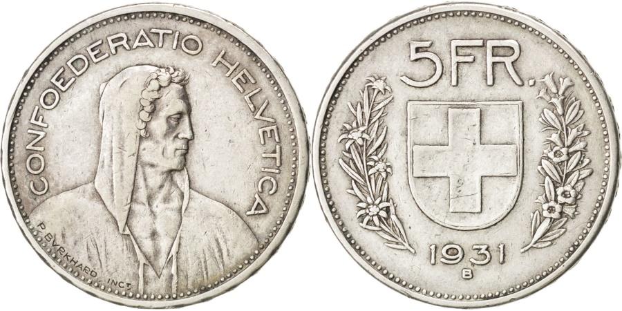 World Coins - SWITZERLAND, 5 Francs, 1931, Bern, KM #40, , Silver, 31.45, 14.90
