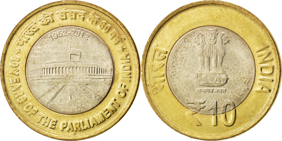 World Coins - INDIA-REPUBLIC, 10 Rupees, 2012, KM #407, , Bi-Metallic, 27, 7.72