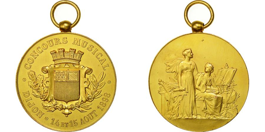 World Coins - France, Medal, Concours Musical, Dijon, 1898, , Gilt Bronze