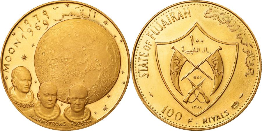 World Coins - Coin, FUJAIRAH, Muhammad bin Hamad al-Sharqi, 100 Riyals, 1969, , Gold