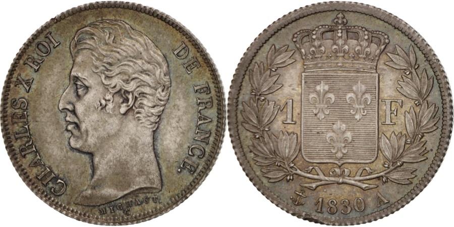 World Coins - France, Charles X, Franc, 1830, Paris, PCGS, MS65, , Silver, KM:724.1