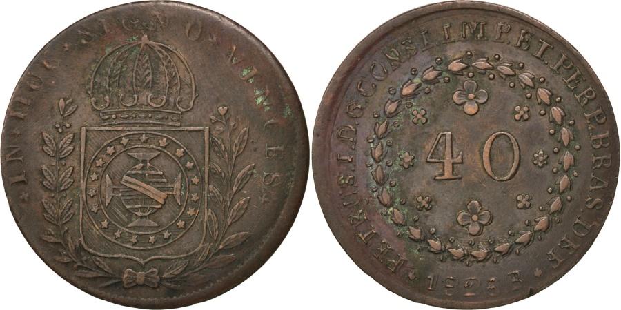 World Coins - BRAZIL, 40 Reis, 1826, Rio de Janeiro, KM #363.1, , Copper, 9.82