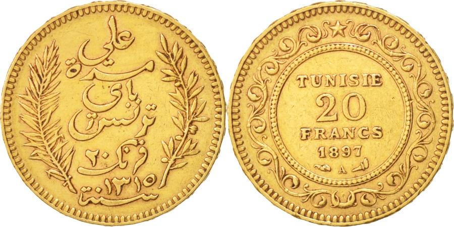 World Coins - Tunisia, Ali Bey, 20 Francs, 1897, Paris, , Gold, KM:227