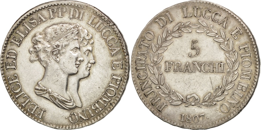 Italian states lucca felix and elisa 5 franchi 1807 for Coin firenze