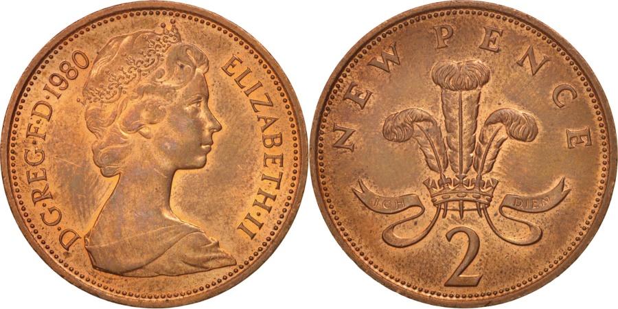 World Coins - Great Britain, Elizabeth II, 2 New Pence, 1980, , Bronze, KM:916