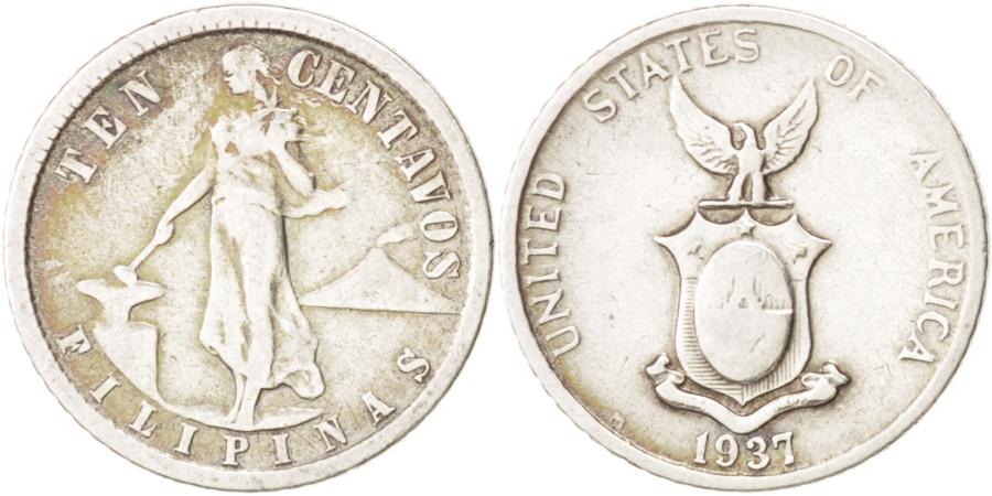 World Coins - Philippines, 10 Centavos, 1937, , Silver, KM:181