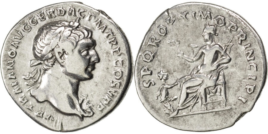 Ancient Coins - Trajan, Denarius, Roma, , Silver, Cohen #417, 3.40